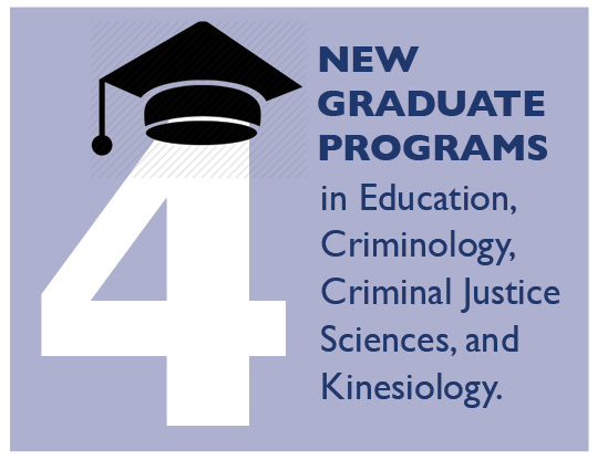 4 New Graduate Programs in Education, Criminology, Criminal Justice Sciences and Kinesiology.
